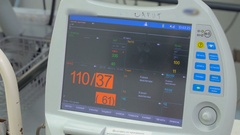 Medical equipment, monitor display in intensive care unit. Slider shot Stock Footage