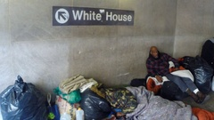 Homeless people near the White House Stock Footage