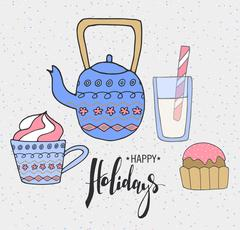 Cute Hand drawn holiday cards and invitations. Teapot, cups and sweets with Stock Illustration