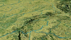 Revolution around Sudetes mountain range - masks. Topographic map Stock Footage