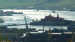 "Murmansk port and the nuclear icebreaker ""50 Years of Victory"" in the dock. Stock Footage"