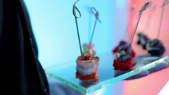 Beautiful Snacks at a Party Stock Footage