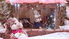 Christmas scene, animated puppet animals Stock Footage
