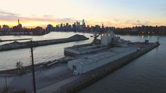 New York City skyline - drone aerial - 4k - sunset Arkistovideo