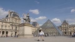 PARIS, FRANCE - Recognizable  French Louvre Museum Stock Footage