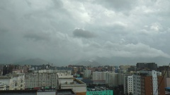 Ulaanbaatar, the house on the background of the moving clouds, time lapse. Stock Footage