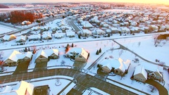 Stunning aerial view of nice houses under first snow. Stock Footage