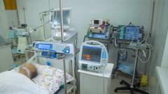 Medical equipment in intensive care unit. Slider shot Stock Footage