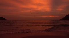 Awesome sunset view over tropical beach in wonderful colors. 4K Stock Footage