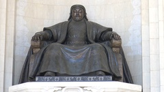 A large statue of Genghis Khan in the central square of Ulan Bator, Mongolia. Stock Footage