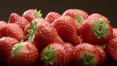 4K Fresh, ripe, juicy strawberries to rotate. close-up macro Stock Footage