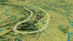 Glide over Sudetes mountain range - glowed. Topographic map Stock Footage