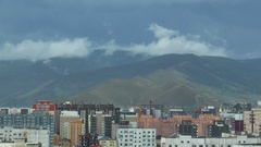 Ulaanbaatar, the house and moving clouds, time lapse. Stock Footage