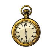 Antique pocket watch. Vector color vintage engraved illustration. Stock Illustration