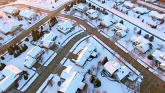 Stunning aerial view of upper class neighborhood under first snow Stock Footage