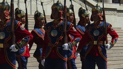 Soldiers of the Guard of Honour of the Armed Forces of Mongolia go marched. Stock Footage
