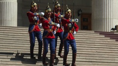 The honor guard company of the Mongolian Armed forces. Stock Footage
