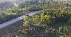 Aerial shot truck on highway Stock Footage