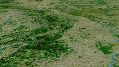 Glide over Sudetes mountain range - masks. Satellite imagery Stock Footage
