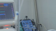 Screen displays patient's condition in ICU, intensive care unit Stock Footage