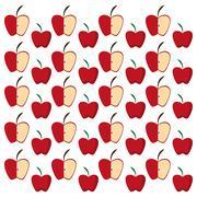 Apples half fruit tasty seamless pattern Stock Illustration