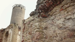 Ruins with watchtower of castle Stock Footage