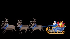 Blue Santa Riding On Reindeer Sled with Alpha Transparent Arkistovideo