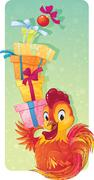 Cute Symbol of Chinese Horoscope - Fire Rooster with Gift Boxes Stock Illustration