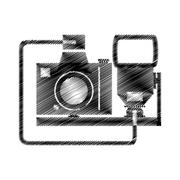 Hand drawing camera photographic with flash Stock Illustration