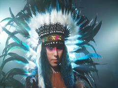 Native American woman isolated Stock Footage