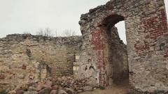 Old entrance between ruined wall Stock Footage