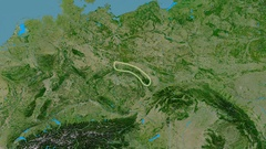Zoom into Sudetes mountain range - glowed. Satellite imagery Stock Footage