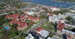 Aerial video Flagler College and St Augustine Stock Footage