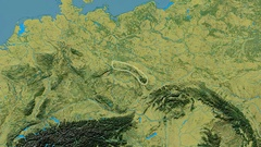 Zoom into Sudetes mountain range - glowed. Topographic map Stock Footage