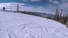 Alpine skiing at Keystone ski resort. Stock Footage