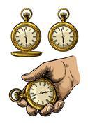 Antique pocket watch. Vector vintage engraved illustration. Stock Illustration