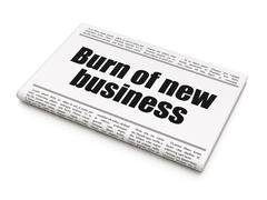 Finance concept: newspaper headline Burn Of new Business Stock Illustration