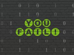 Finance concept: You Fail! on wall background Stock Illustration