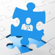 Healthcare concept: Doctor on puzzle background Stock Illustration