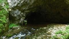 Beautiful River Cave Landscape Stock Footage