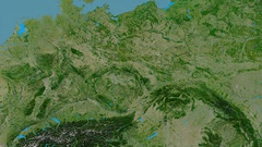 Zoom into Sudetes mountain range - masks. Satellite imagery Stock Footage