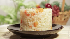 Asian food of rice with carrot Stock Footage