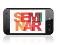 Education concept: Smartphone with Seminar on  display Stock Illustration