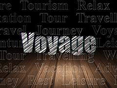 Vacation concept: Voyage in grunge dark room Stock Illustration