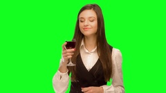 Woman drink wine. and enjoys Arkistovideo