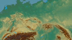 Zoom into Sudetes mountain range - masks. Relief map Stock Footage