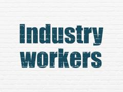 Industry concept: Industry Workers on wall background Stock Illustration