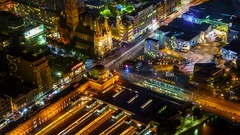 Melbourne City Flinders Street Station Federation Square St Paul's Cathedral Stock Footage