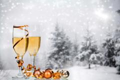 Champagne against winter background Stock Photos