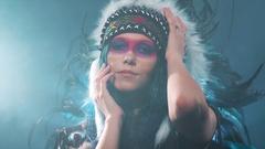 Native American woman posing Stock Footage